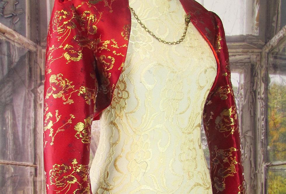 """""""Sophia"""" Bolero in Red & Gold Brocade"""