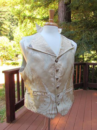 Cream Brocade Steampunk Vest
