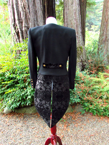 Womens Black Brocade Tailcoat