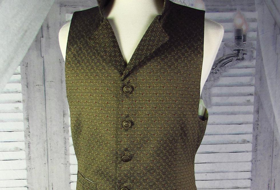 """Maxwell"" Vest in Olive Green Brocade"