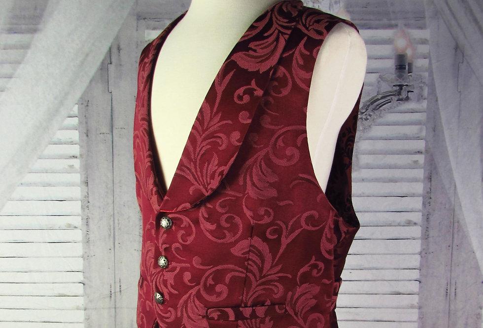 """""""Oliver"""" Vest in Burgundy Brocade"""