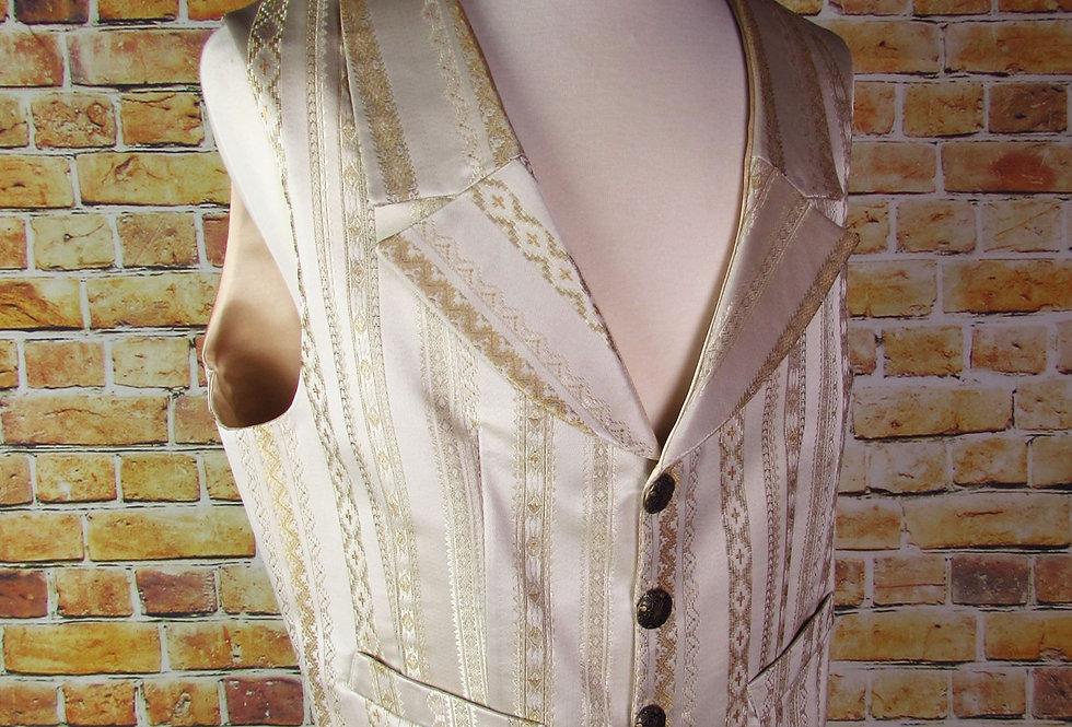 """""""Wyatt"""" Vest in Cream and Gold Brocade"""