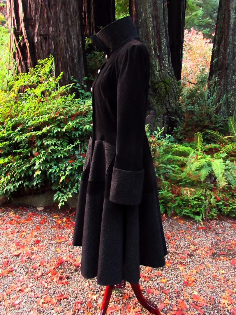 Handmade Black Velvet Swing Coat
