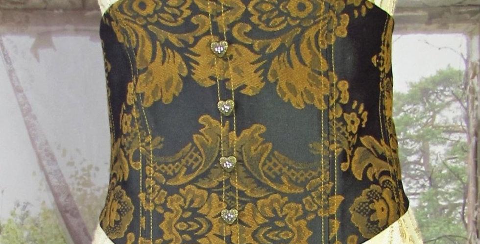Reversible Corset in Dark Green Brocade and Gold Velvet