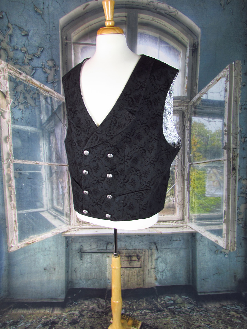 Black Denim Double-Breasted Waistcoat
