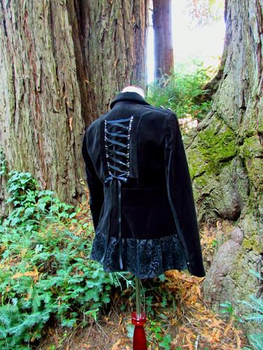Black Velvet Military Goth Coat