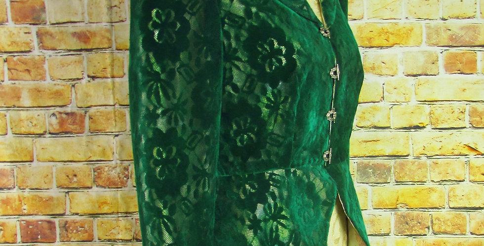 """Daphne"" Victorian Jacket in Green Velvet Lace"