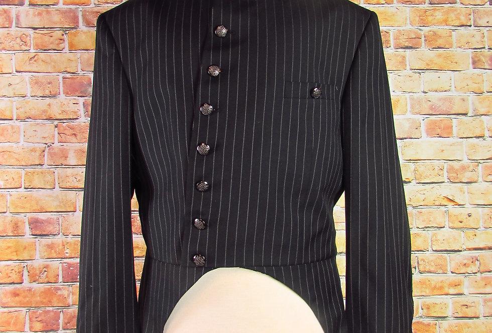 Asymmetrical Black Pinstripe Steampunk Frock Coat