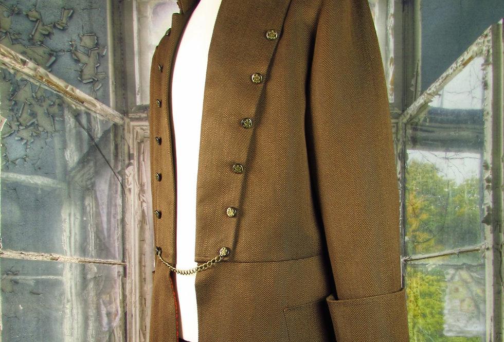 """""""Louis"""" Coat in Brown Herringbone Tweed"""