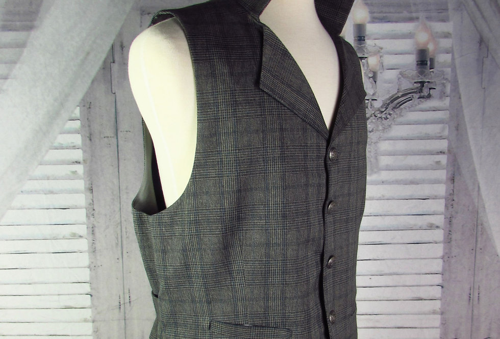 """Maxwell"" Vest in Gray and Blue Striped Plaid"