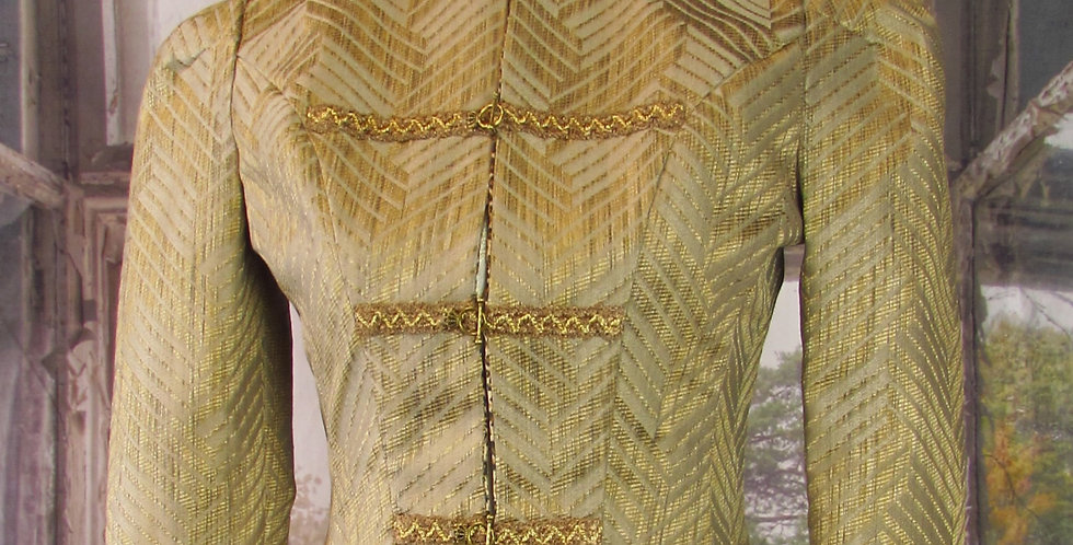 """""""Jane"""" Jacket in Tan and Gold Chevron Twill"""