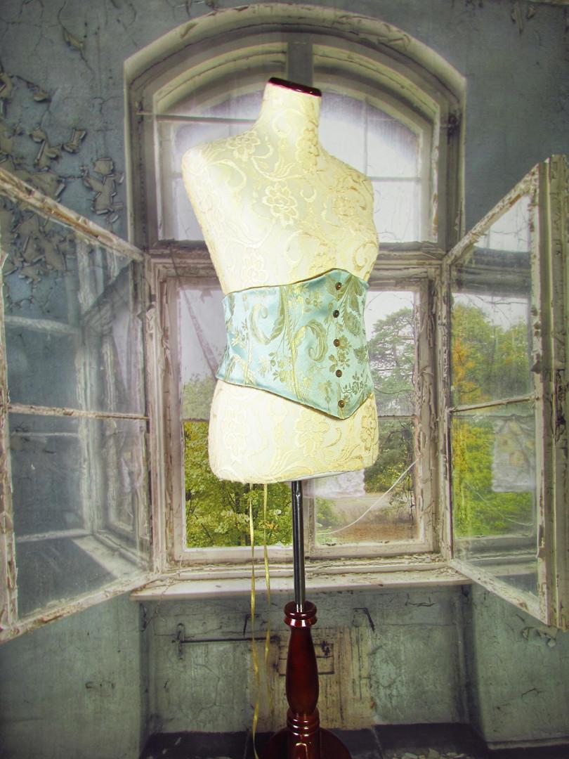 Handmade Light Teal and Velvet Reversible Corset - Size 14