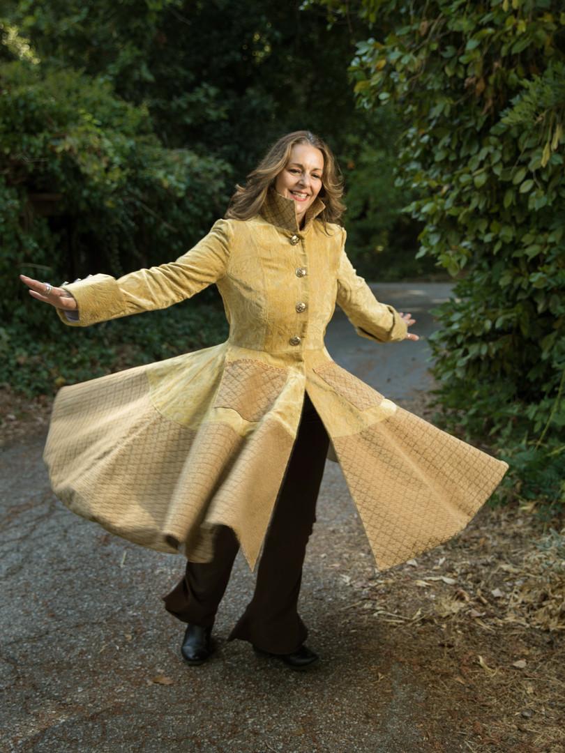 Handmade Gold Brocade Swing Coat