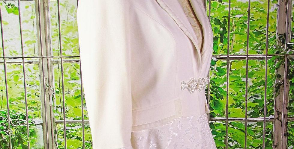 Creamy White Brocade Coat with Velvet Trim