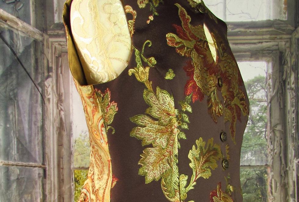 """""""Melanie"""" Keyhole Vest in Brown Floral Brocade"""