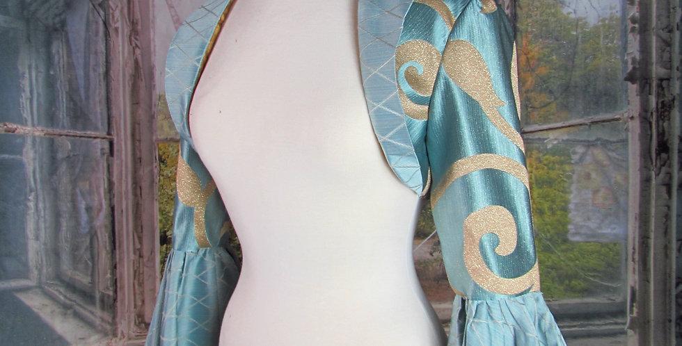 """""""Ariel"""" Bolero in Blue and Gold Brocade"""