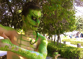 Painted snake living statue