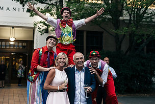 Bouncy clowns entertaining guests