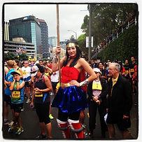 Super hero on stilts