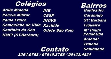 Atilla Moledo, Policia Militar, PauloFreire, Comecinho de Vida, Cantinho do Céu, UMEI, INB, CESP, INOVE, Rachide, Odete São Paio.