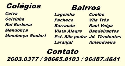 CEIVA, CEIVINHA, Rui Barbosa, Mendonça, Mendonça Goulart