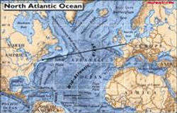Map of the Atlantic Ocean which show how Marconi Stations connected Europe and North America.