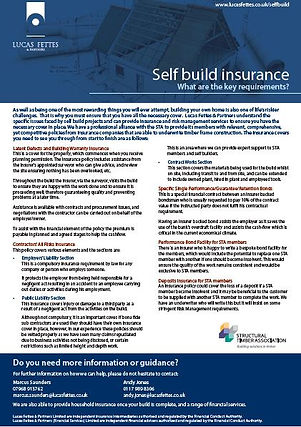 Self Buld insurance - Key requirements