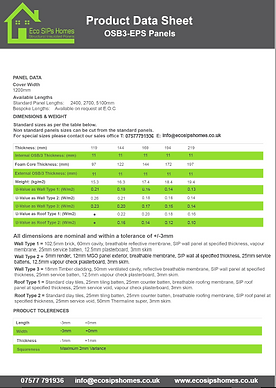 Eco SIPs Homes Product data sheet