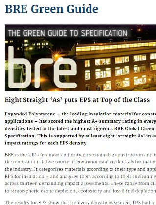 BRE Green Guide gives EPS eight straight 'As'to put EPS Top of the Class
