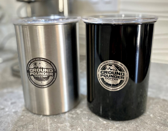 Airscape® stainless steel coffee storage canister and 1 bag of GPC Coffee