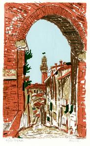 Via Sant'Agata, Siena –Serigraph