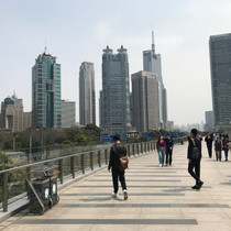 Elevated walkway found throughout Pudong