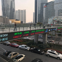 In China red is a lucky color so stock tickers are reversed. Red is up and green is down.