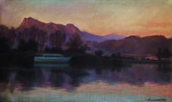 10.Закат на озере 45х75 цв.бум