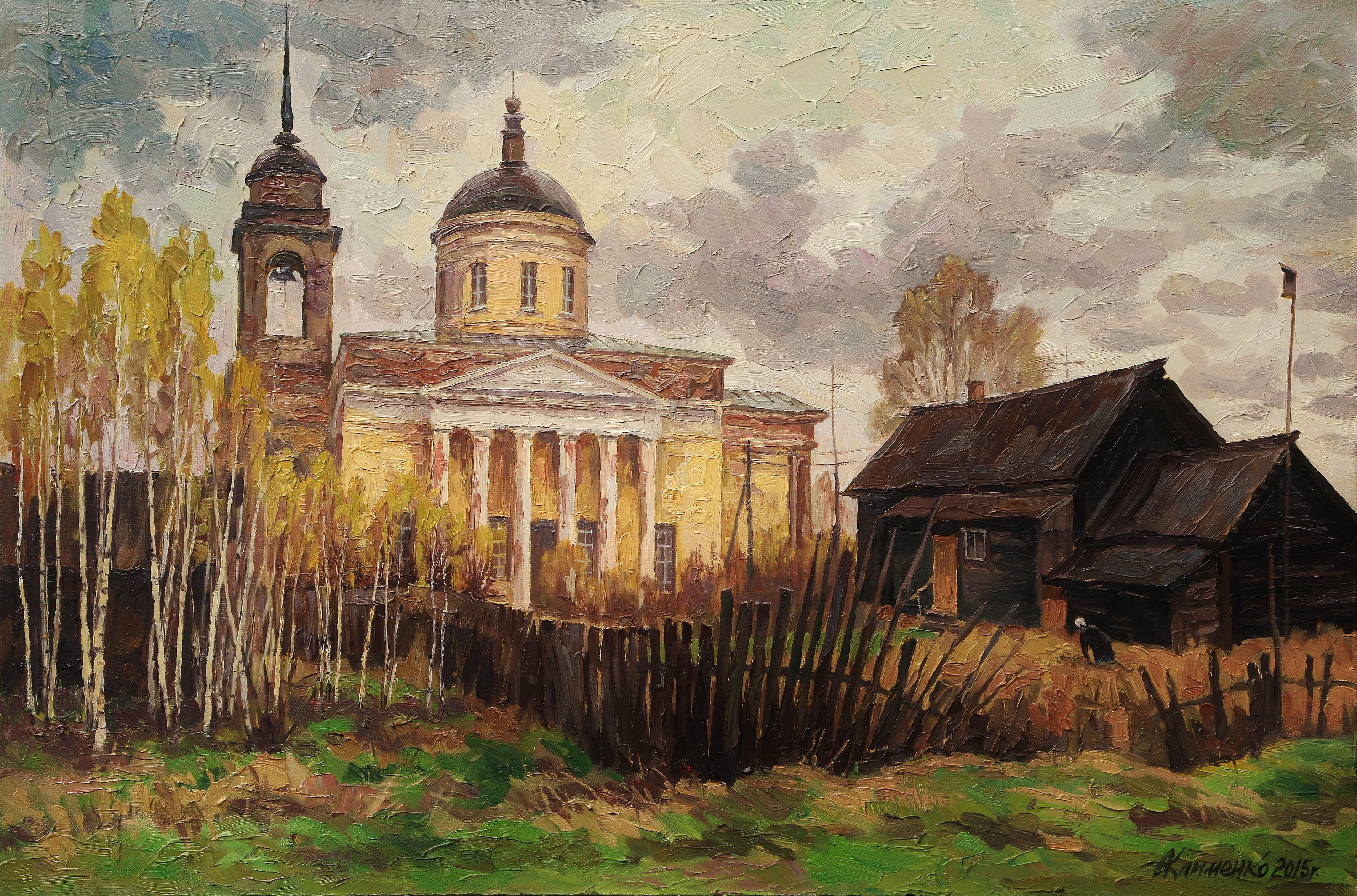 Весной в деревне  Дудино-60х90х.м.2015г.