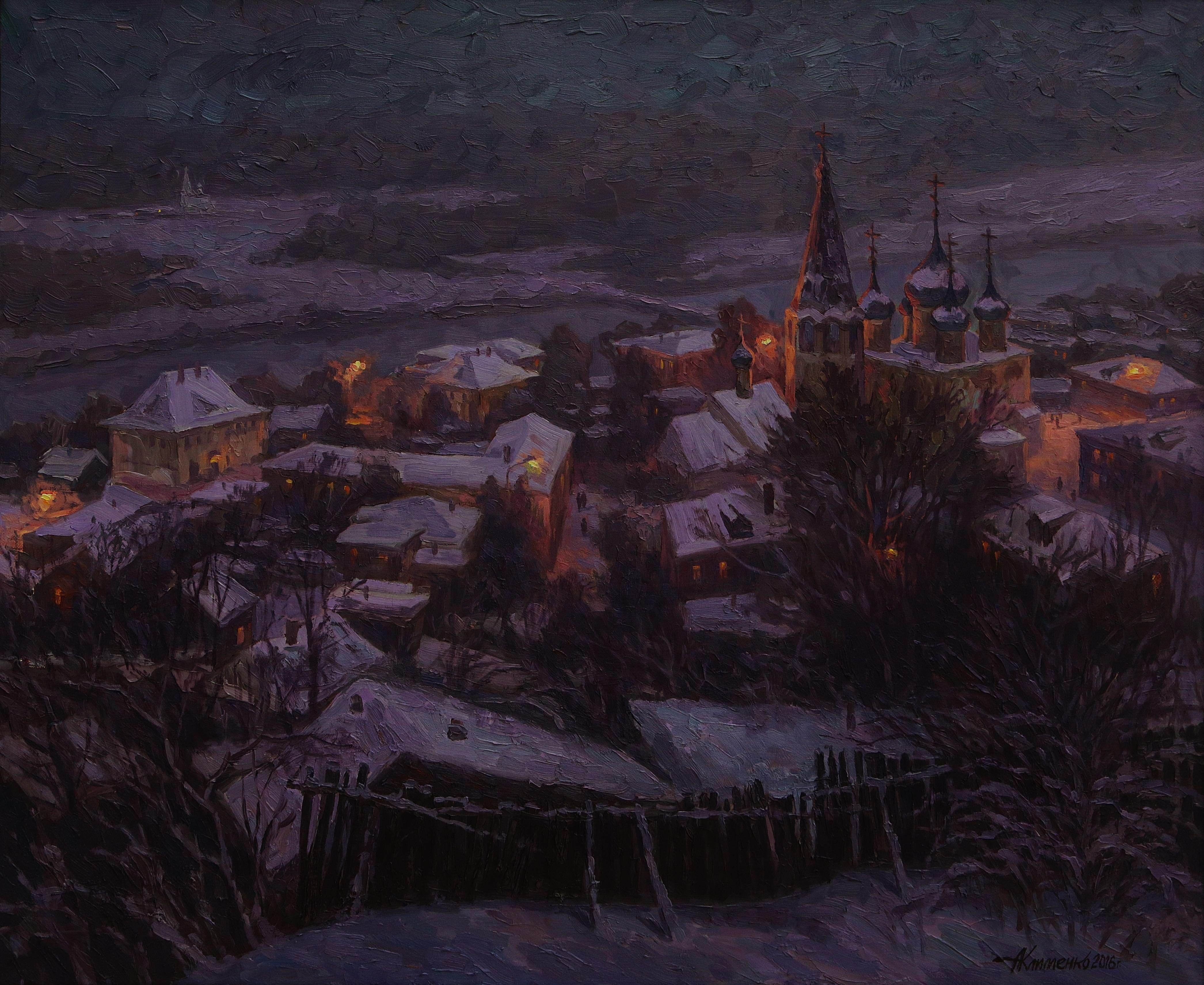 Зимний вечер в Гороховце 90х110х.м