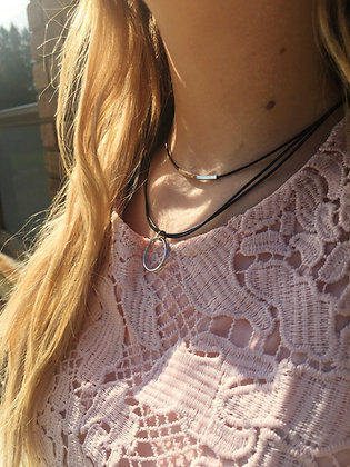 Silver Ring Pendent Layered Necklace