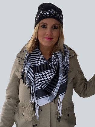 Black & White Checkered Scarf w/Tassels