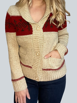 Red Holiday Button Front Cardigan
