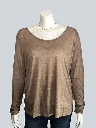 Plus Size Taupe Scoop Neck Knit Top