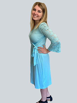 Aqua Crochet Sleeve Tie Dress
