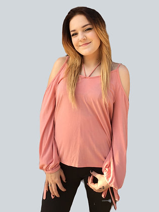 Soft Pink Cold-Shoulder V Neck Top