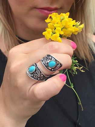 Boho Etched Dual Stone Charm Ring