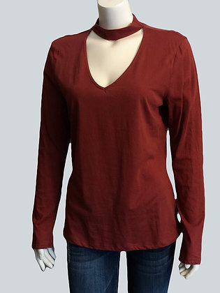 Plus Size Rust Cut Out Top