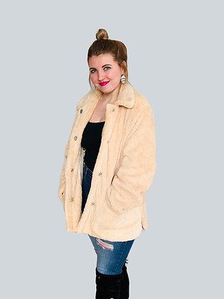 Beige Faux Fur Oversized Teddy Coat