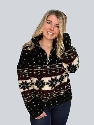 Black and Red Aztec Sherpa Pullover