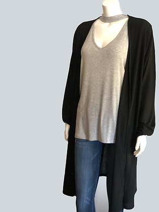 Plus Size Black Ribbed Knit Duster