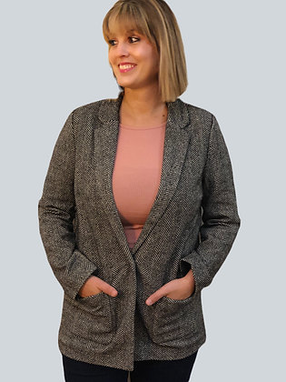 Black Knit Tweed Blazer Jacket