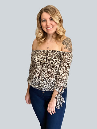 Black Leopard Print Chiffon Off the Shoulder Blouse