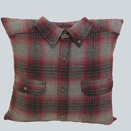 "Hand Crafted 16x16"" Grey and Red Flannel Shirt Pillow"